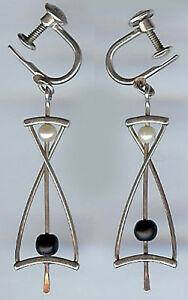 Ed Levin Vintage Modernist Sterling Silver Pearl Black