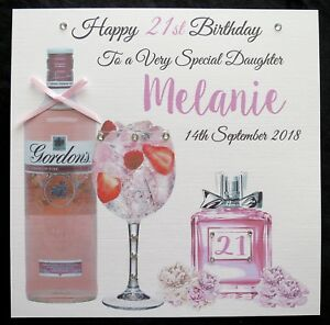 Image Is Loading Personalised PINK GIN Birthday Card Mum Daughter Friend