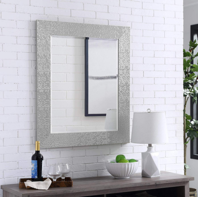 Large Wall Mirror Bathroom Vanity Lounge Silver Mosaic Ornate Rectangle Frame