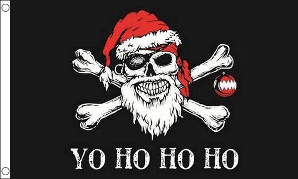 Yo Ho ho Pirate Christmas Flag 5ft x 3ft (150cm x 90cm) flag Banner