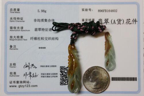 Certifié Grade A 100/% naturel 2 couleurs Jadeite Jade Calla Lily Fleur Pendentif