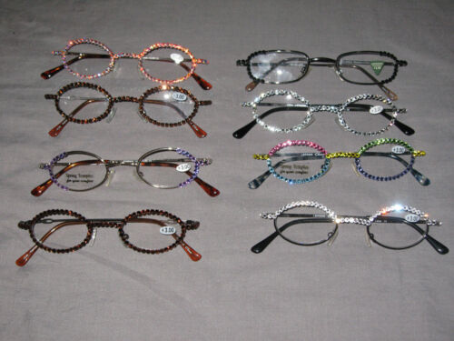 Swarovski Crystal Jeweled Reading Glasses +3.00 Bling Wire Frames New!