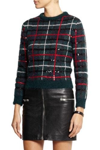 0b98709cb3 2 of 12 SAINT LAURENT Sequined tartan green mohair-blend sweater sz M  Christmas plaid