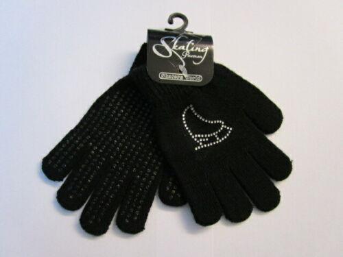 Kürkleid Handschuhe mit Strass für Eiskunstlauf schwarz Kinder bis 7 Jahre