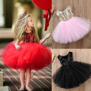 Sequins-Kids-Baby-Flower-Girl-Dress-Tutu-Party-Dress-Wedding-Bridesmaid-Dresses