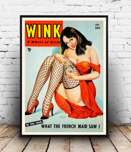 Wink 40/'s Pin Up Vintage P Driben Artwork Poster Reproduction Wall art