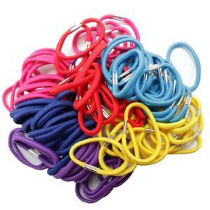 100 élastiques cheveux couleurs mélangés rose rouge bleu jaune turquoise violet