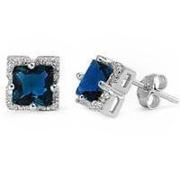 8mm Elegant Princess Cut Blue Sapphire .925 Sterling Silver Stud Earrings on sale