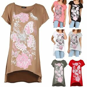 b66e7988946 Image is loading Ladies-Womens-Butterflies-Floral-Oversized-Dress-T-Shirt-
