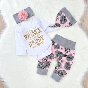 373414c16e236 Details about 4PCS Newborn Infant Baby Girls Outfit Clothes Romper Jumpsuit  Bodysuit+Pants Set