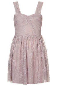 BNWT-Topshop-Mink-Lace-Pleated-Party-Evening-Dress-Size-10-RRP-49