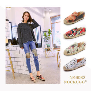 NOCK-UGG-Womens-Floral-Style-Leather-Weave-Espadrille-Loafers-Casual-Flat-Shoes