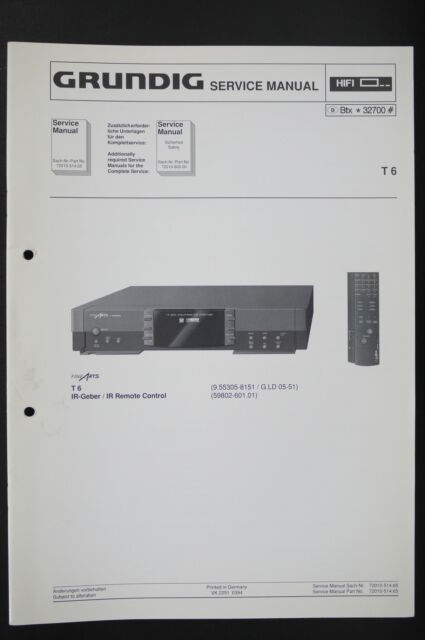 Grundig T 6 Original System Tuner Service Manual  Wiring