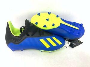 NEW-Adidas-Youth-Boy-039-s-X-18-3-FG-J-Soccer-Cleats-Blue-Neon-Yellow-Black-A20-tz