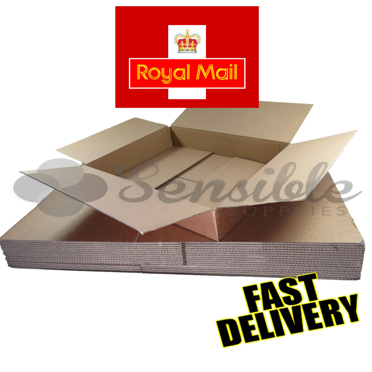 HISTORIC ROYAL MAIL MAXIMUM SIZE SMALL PARCEL CARDBOARD BOXES 449x349x79mm
