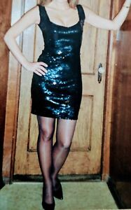 womens teens black sequence fitted tank prom dress 34