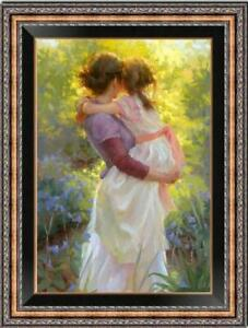 "Hand painted Original Oil Painting art Impressionism Mum girl on canvas 24""x36"""