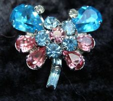 Vintage Signed Weiss Butterfly Pin Pink and Blue Crystals
