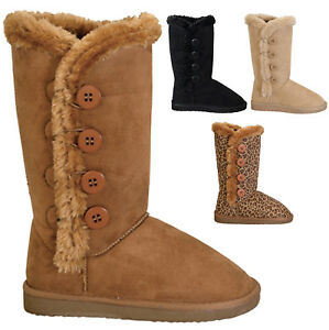 NEW-Women-039-s-Classic-Round-Toe-Boots-w-Side-Buttons-Faux-Fur-Trim-Size-5-to-10