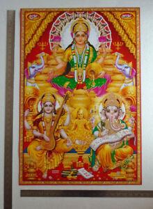 Lakshmi Saraswati Ganesha Poster Big Size 20x30 Inches Ebay