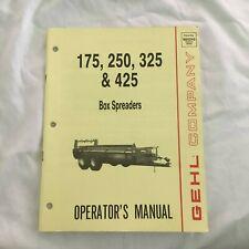 Gehl Company Box Spreaders 175 250 325 425 No 904249 Tractor Operators Manual