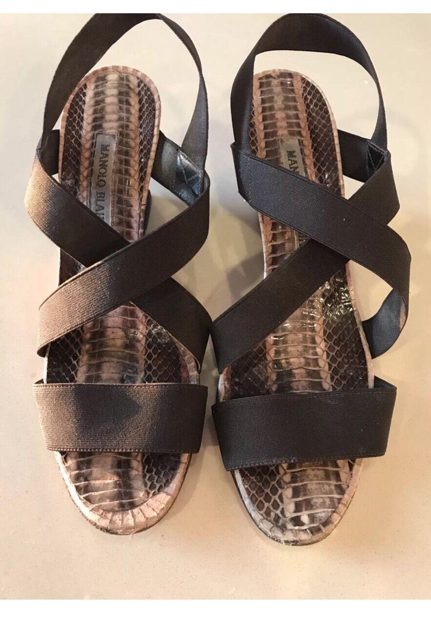 665 MANOLO BLAHNIK Terwe Brown Elastic Strap Snakeskin Wedge Heel Sandals 37 7
