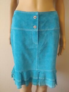 In-Suede-Teal-Blue-Genuine-Leather-Ruffle-Bottom-Skirt-Women-039-s-Size-4