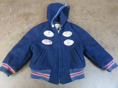 Vintage Kids Nordic Coat Football patches 1940's a