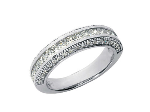 1.80ct Diamond Wedding Band Ring Platinum Princess Round Channel Prong New H SI2