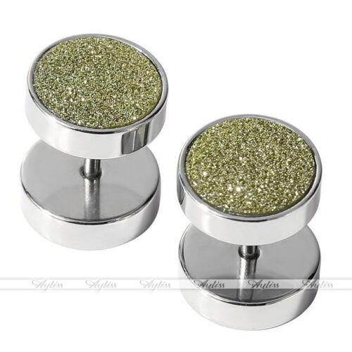 2x Barbell Glitter Fake Cheater Ear Plug Earrings Stud Illusion Look Hot 00G