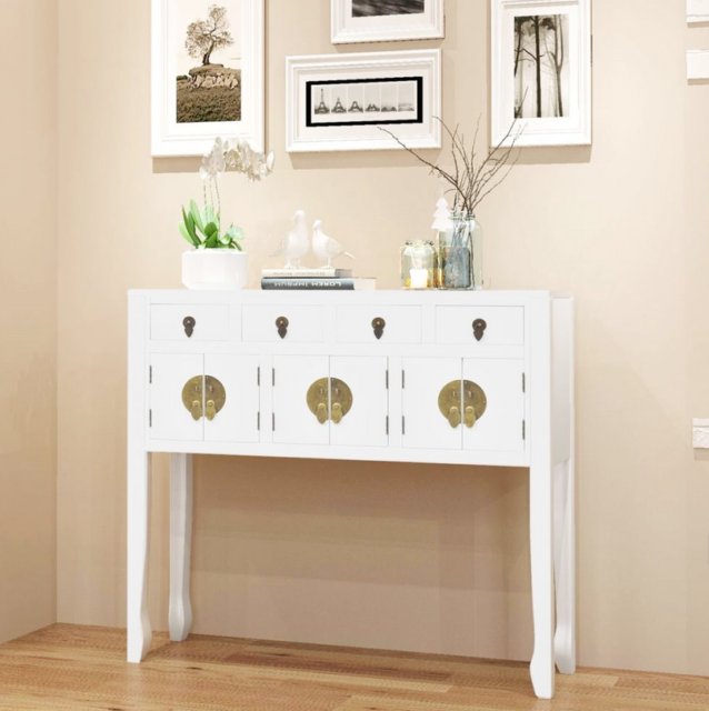 White Hall Console Table Storage Drawers Wood Oriental Cupboard Narrow Cabinet