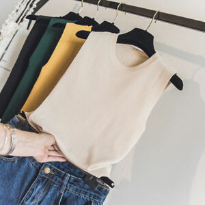 Lady-Knitting-Tank-Top-Vest-Summer-Sleeveless-Tops-Scoop-Neck-Plain-Solid-Shirts