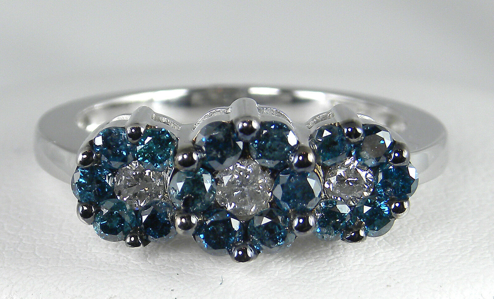 1.00 Total Carat Weight Genuine Diamond Cluster 3-Stone Style Ring