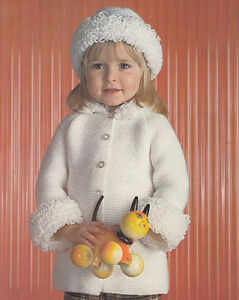 Little Girl Garter Stitch And Loopy Winter Coat And Hat