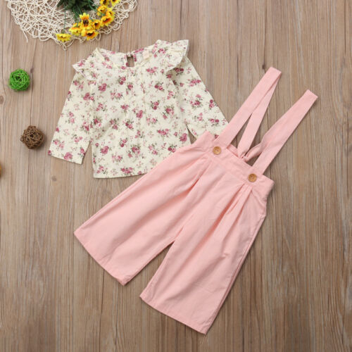 UK Toddler Baby Girls Autumn Clothes Floral Tops T-shirt Pants Overalls Outfits