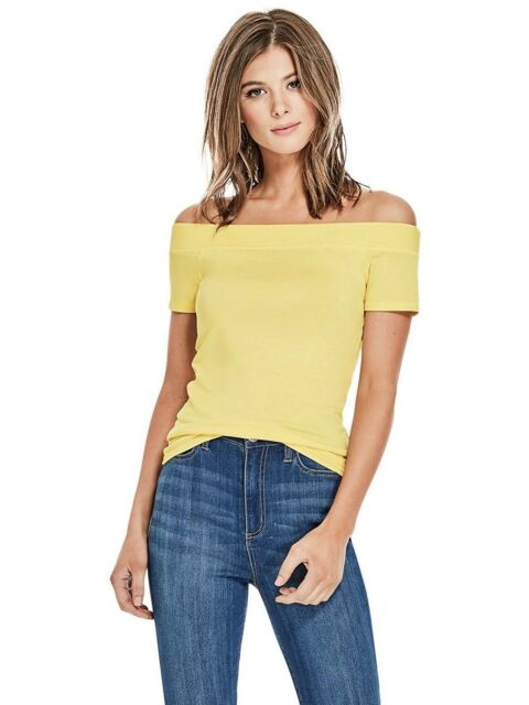 GUESS Womens NEW Yellow Off Shoulder S/Sleeve Slim Fit Stretch Tee Top L