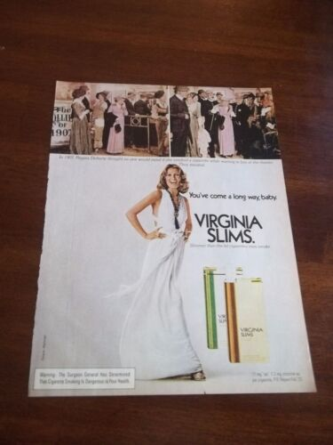 1974 VINTAGE AD VIRGINIA SLIMS 1907 REGINA DOHERTY SMOKING IN LINE AT THEATER