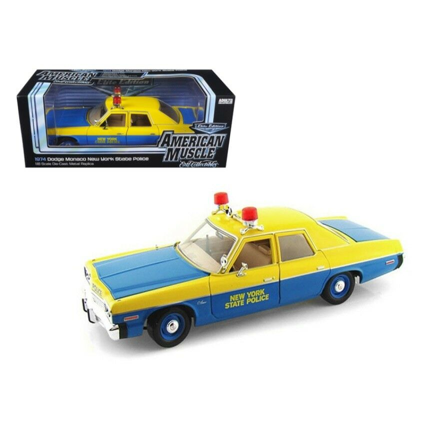 1974 1974 1974 Dodge Monaco New York State Police 1 18 Diecast Model Car by Autoworld 0bd517