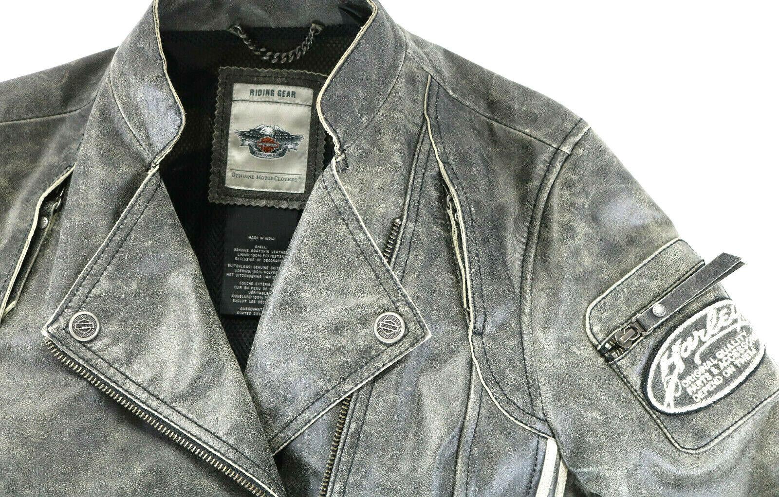 harley davidson goatskin jacket M lightweight embrace armor pockets vintage