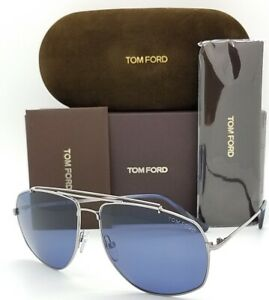 New-Tom-Ford-Georges-Aviator-sunglasses-TF0496-14V-61-Ruthenium-Blue-AUTHENTIC