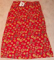 Zashi Red Sheer Rayon Skirt Lined Women's Size Medium Side Slit