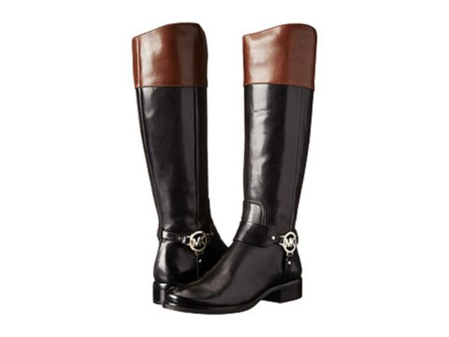 51ffcad32d93 Michael Kors Fulton Harness Loden Green Black Leather BOOTS Women Size 10