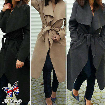 Women's Celeb Waterfall Drape Belted Coat Long Sleeve Abaya Fashion Maxi Jacket