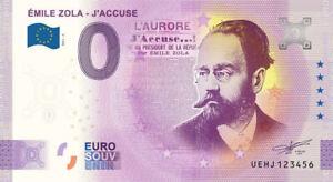 BILLET 0  EURO  EMILE ZOLA  - J'ACCUSE ANNIVERSARY FRANCE 2021 NUMERO DIVERS