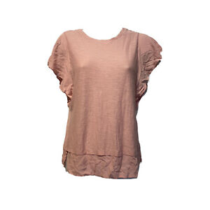 vince camuto Pink sleeveless Ruffle Sleeve Sheer Layer top Blouse Size XXS