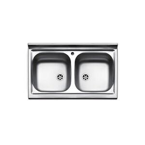 Lavello appoggio acciaio inox cucina lavandino 2 bocche mobile sottolavello 80 ebay - Mobile lavello cucina acciaio ...