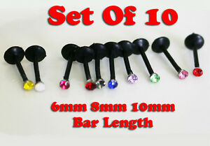10 LOT of WHOLESALE BLACK FLEXIBLE LABRET PIERCING 16G BAR GEM LIP RING STUD L18