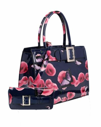 In pearl Women's Bag Belt orchid New With blue Butterfly 1 Hand 2 Poppy And Black Grey Purse dark Matching Detail qSdxwxUnE