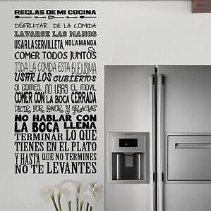 Vinilo decorativo 596 reglas de mi cocina stickers for Vinilos pared cocina