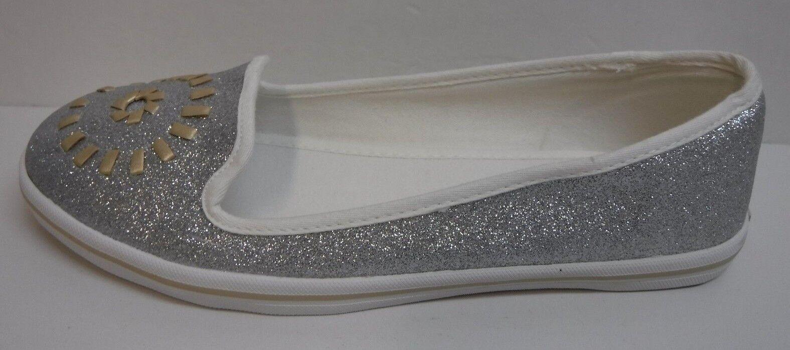 Jack Rogers Größe 6 Silver Loafers Flats NEU Damenschuhe Schuhes